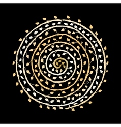 Floral spiral ornament golden sketch for your vector