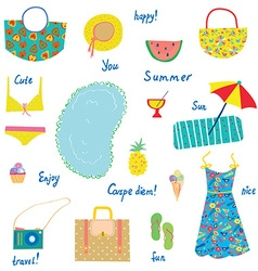 Summer icons set funny design - for vacations vector image
