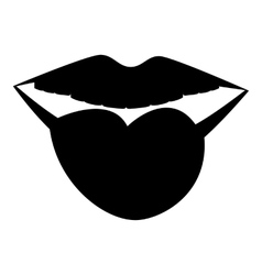 Female lips with tongue icon simple style vector