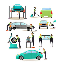 Set of car service auto repair shop vector