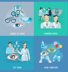 Oculist ophthalmologist 4 flat icons square vector