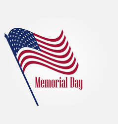 Memorial day american flag on white background vector