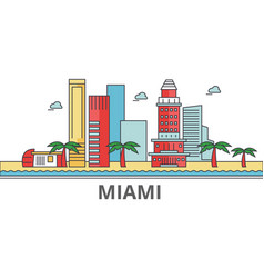 Miami city skyline buildings streets silhouette vector