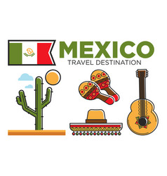 Mexican tourist travel attractions and mexico vector