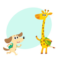 Cute animal student characters dog and giraffe vector