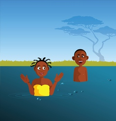 kids playing river vector image