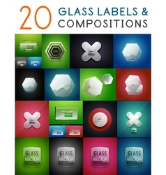 Mega set of glass labels and compositions vector image