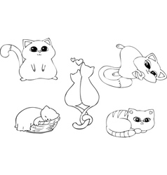 Coloring page set cats vector