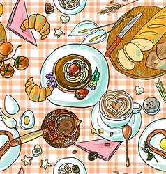 Beautiful hand-drawn simpless pattern breakfast vector