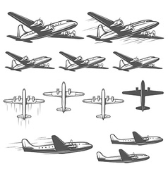 Vintage airplanes from different angles vector