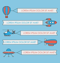 Set of air vehicles with banners ufo rocket vector