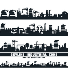 Set of industrial skyline vector