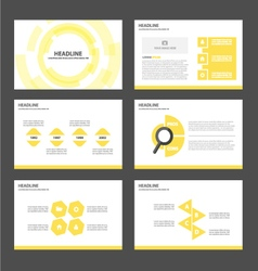 Yellow tech presentation templates infographic set vector