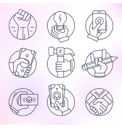 Set of icons in modern linear style vector image