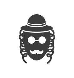 Flat icon in black and white style jew vector
