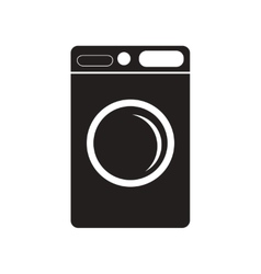 Flat icon in black and white style washing machine vector