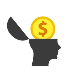 Head and coin icon think and idea design vector