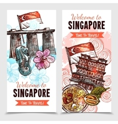 Singapore sketch vertical banners vector
