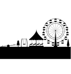 Amusement park black contour of a ferris wheel vector