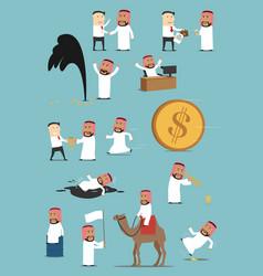 Arabian businessman activities cartoon set vector