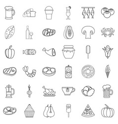 bottle icons set outline style vector image