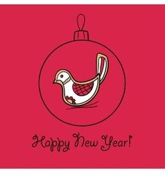 Christmas ball with bird vector image