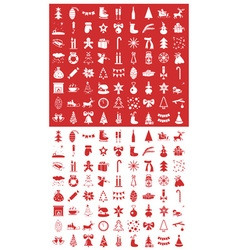 Christmas icons on a red and white vector image vector image