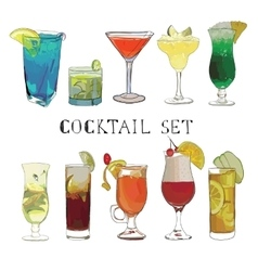 Cocktail hand drawn decorative icons set with vector image vector image