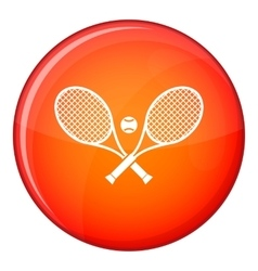 Crossed tennis rackets and ball icon flat style vector