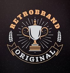 Cup Vintage Retro Design Elements for Logotype vector image vector image