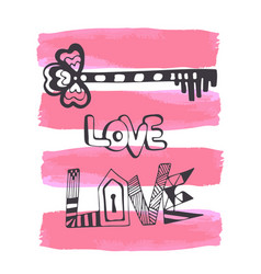 cute hand drawn valentines day card with doodle vector image