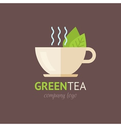 Flat green tea cup organic logotype vector image vector image