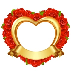 frame in the shape of heart with red roses vector image vector image