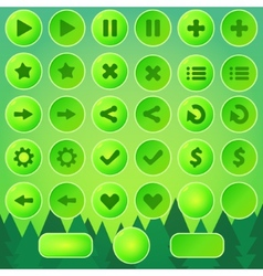 Game ui buttons - green elements vector