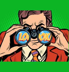look businessman looking through binoculars vector image vector image
