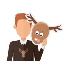 Man with deer mask flat design vector