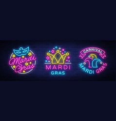 mardi gras set of design template for greeting vector image