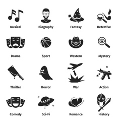 Movie genres icons vector image