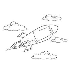 Rocket missile flying coloring book vector