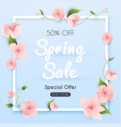 Sale banner with flowers poster flyer vector