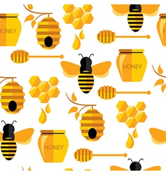Seamless abstract pattern with bee and honey vector