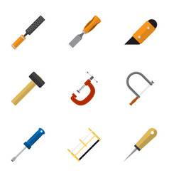 set of 9 editable instrument flat icons includes vector image vector image