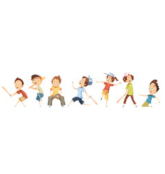 set of children characters playing baseball vector image
