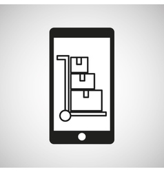 Smartphone e-commerce shipping cargo graphic vector