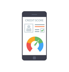Smartphones with credit score app on the screen in vector