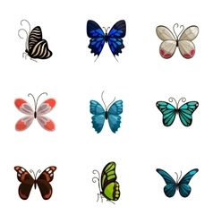 Tropical butterfly icons set cartoon style vector