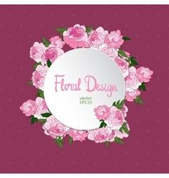 Vintage circle floral frame vector
