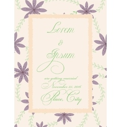 Vintage wedding invitation with torn paper banner vector