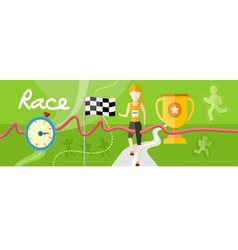 Winning athlete crosses the finish line vector image