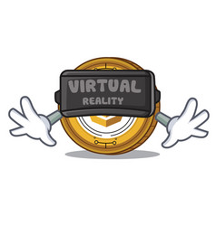 With virtual reality komodo coin mascot cartoon vector